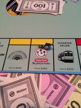 We bought Faith the Pittsburgh edition of Monopoly, so of course she has to end up owning Eat'n Park.