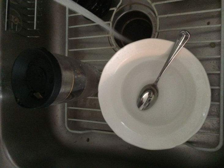 Not only did I put them in the sink and rinse them, I washed them. OK, I didn't wash the spoon. I hate washing silverware.