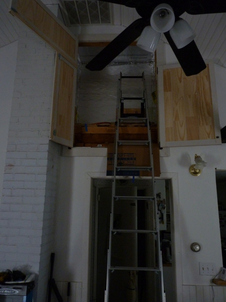 With everything open, there's more than enough room to get into the attic and to get large pieces of lumber up.