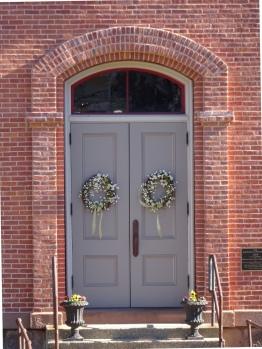 The straight-on view seemed a little bland but they are beautifully restored doors.