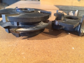 This is a matched set of shaper cutters for forming the profile on the rails and stiles of a door or window frame.