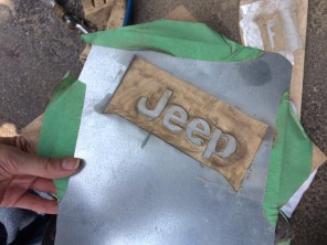 Sandblasting the Jeep logo