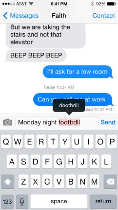 iPhone spellcheck error
