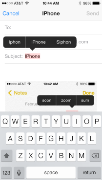 iPhone corrections
