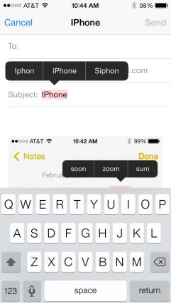 iPhone corrections