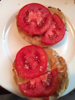 Fresh tomato, fresh butter and peanut butter