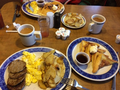 Our favorite breakfast place in Pittsburgh is Eat'n Park (where you can substitute fruit for bacon if you want to).