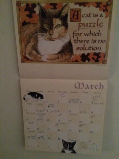 I give my wife the Proverbial Cat calendar.