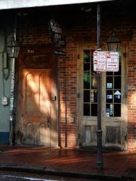 Brick and wood doors