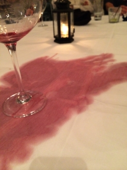 The woman next to me spilled her wine.