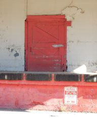 This loading dock door has seen better days, but it's still functioning.