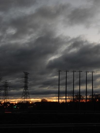 Gray sky sunrise