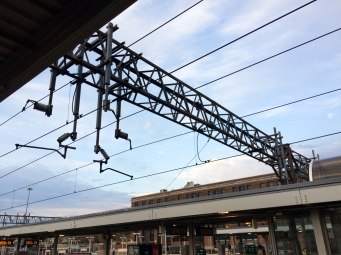 I love lines, so I always snag a photo of the catenary structures and wires