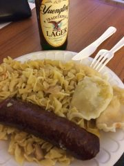 Pirogi, cabage & noodles and kielbasa. Oh yeah, don't forget the Yuengling