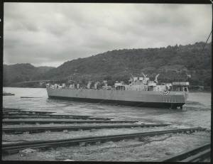 The launching of LST 42 on August 17, 1943. The ship would take part in the Battle of Iwo Jima. Photo courtesy Heinz History Center