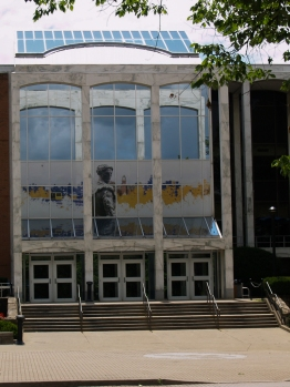 This is the entrance to the Mountainlair that is across the street from Woodburn Circle