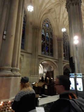 Looking off to the windows during the mass