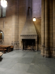 The Cathedral has several working fireplaces on the outside walls of the Commons.