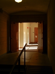 Walking through the lower level, you are surrounded by beautiful wooden doors.