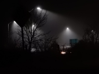 Looking up the off-ramp in the fog.