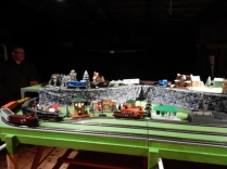 Three old Lionel Trains running together.