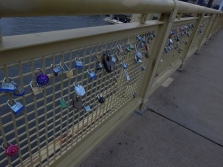 Love-locks on the Roberto Clemente Bridge