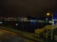 Stairs of the Roberto Clemente bridge and PNC park in the backgroiund