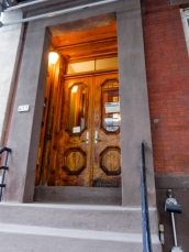 On a rainy day, these doors were brightly lit.