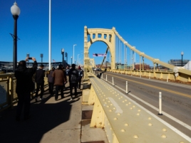 Walking to the game. The Roberto Clemente bridge is closed to traffic about 2 hours before the game starts