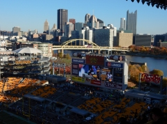 Heinz Field's open endzone looks out over the city.