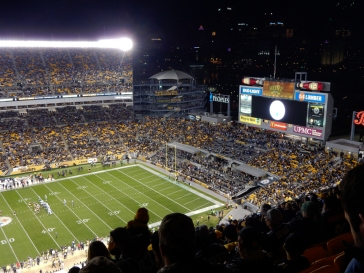 When the Steelers kicker is kicking toward the open end of Heinz Field, they put this target up for him.