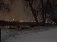 Looking out at Hartford from Great River Park.