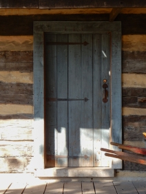 Log cabin front door