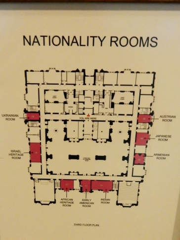Map of the nationality rooms on the 3rd floor. The large opening in the center (lower) is the Commons, which extends through the first 3 floors.