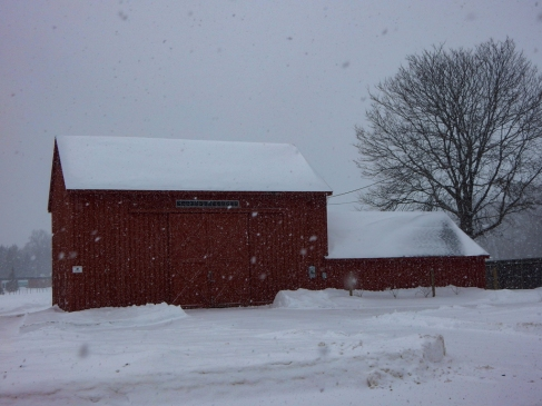 The plowed snow tells me this is a working barn