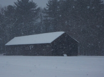It's a little hard to pick out of the snow, but there's a barn and a door