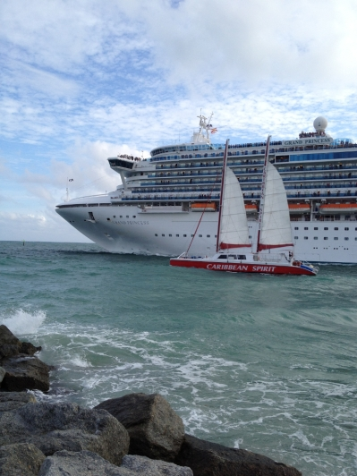 Two ships passing in the harbor entrance in Ft Lauderdale