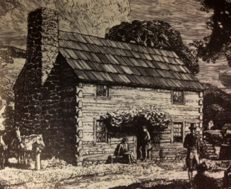 Artist rendering of log cabin schoolhouse of Pittsburgh Academy 1787 - from Pitt Website