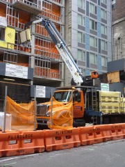 This guy is delivering sheetrock to a new hotel in lower midtown NYC