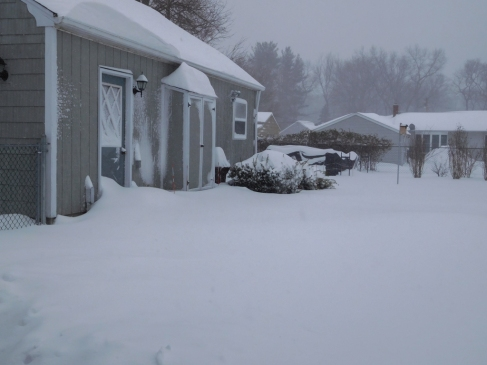 During the blizzard. I was in Florida when my wife took this photo. I felt bad.