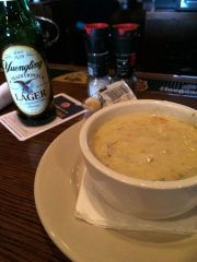 Seafood chowder and Yuengling