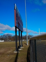 On my walk with Maddie. Even the scoreboard seems to be waiting for spring.