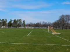 Sign-of-spring - Soccer goals back in place on green grass