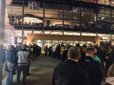 PPG Paints Arena. The doors open in about 15 minutes. Let's Go Pens