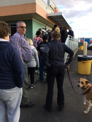 A long line for ice cream is always a sign of spring. They've added music to the wait - that's good too.