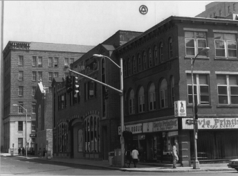 Historic photo showing the synagogue and Theater Works.