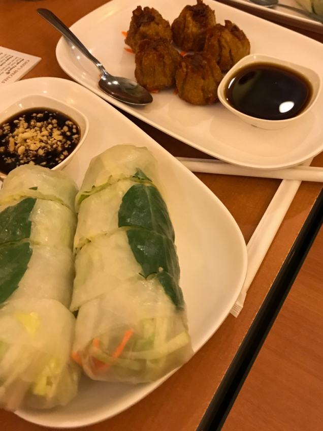 Fresh Roll - Rice noodle, tapioca paper wrapper, fresh vegetables. Served with sweet sauce, and Dumplings