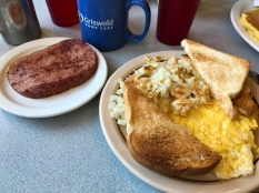 Breakfast at the Grove. Eggs, hash browns, toast, ham and those are pancakes off to the side, but I need that photo for another post