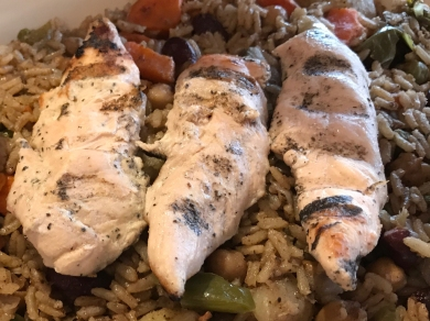 asmine's Favorite Chicken Tawook a fresh mix of cooked beans, vegetables and rice seasoned with a blend of herbs and spices