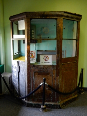 Antique ticket boot inside the main entrance to the museum.